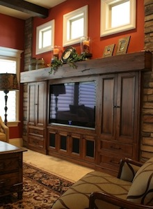 Custom Entertainment Center by Tree City Woodworking